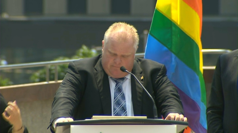 Mayor Rob Ford reads a proclamation for Pride Week during a flag-raising event at city hall Monday, June 24, 2013.
