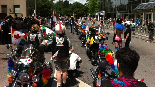 A number of participants in the Pride Parade line up prior to the star of the event on June 30, 2013. (Jamie Gutfreund/CP24.com)