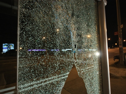 One of several bus shelters that were destroyed along Eglinton Avenue early Tuesday, April 19, 2011. (CP24/Tom Stefanac)