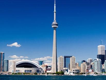 Toronto skyline, cp24 stock