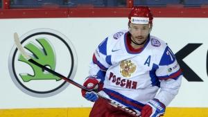 Russia's Ilya Kovalchuk celebrates his goal during the 2013 Ice Hockey IIHF World Championships Group B preliminary round match Austria vs Russia in Helsinki on Monday, May 13, 2013. (AP Photo/Lehtikuva, Jussi Nukari)