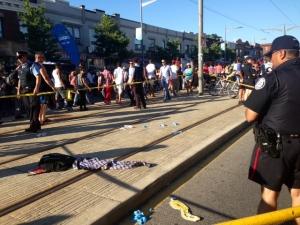 Police cordon off the scene of a stabbing on St. Clair Avenue West Saturday, July 13, 2013. (Cristina Tenaglia/CP24)