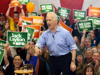 NDP Leader Jack Layton addresses supporters at a campaign rally in Courtenay, B.C. on Friday, April 29, 2011. The federal election will be held on Monday. (THE CANADIAN PRESS/Andrew Vaughan)
