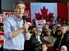 Liberal Leader Michael Ignatieff addresses a rally Friday, April 29, 2011 in Kitchener, Ontario . THE CANADIAN PRESS/Paul Chiasson