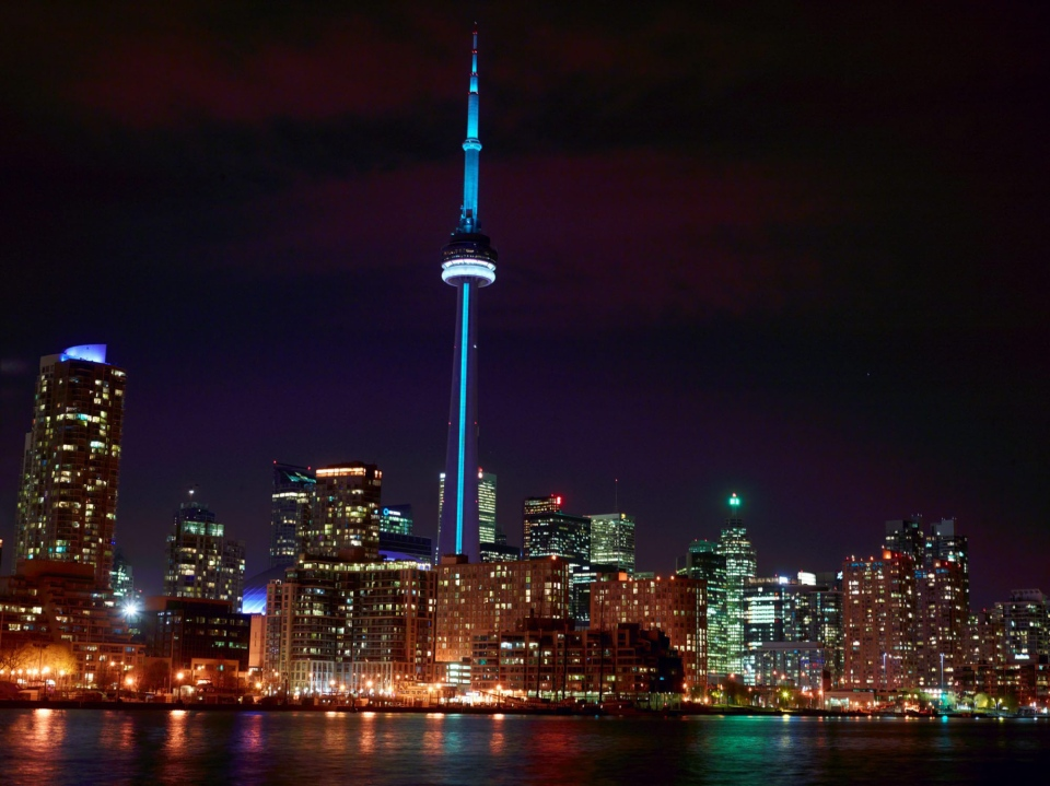 Toronto's iconic CN Tower welcomes the birth of the royal baby. In honour of the birth of His Royal Highness Prince of Cambridge, CN Tower lighting will be solid blue on July 22, 2013, the evening the birth was announced in Canada. (The Canadian Press/CN Tower)