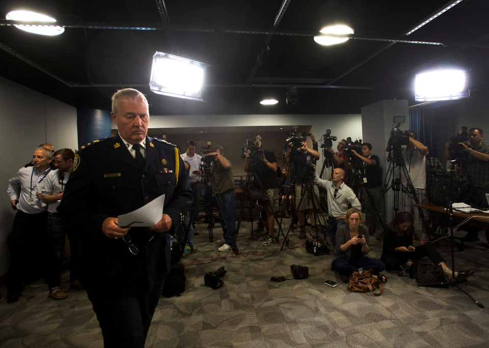 Police Chief Bill Blair arrives at a news conference in Toronto on Monday, July 29, 2013, to comment on the fatal shooting of 18-year-old Sammy Yatim. (The Canadian Press/Nathan Denette)