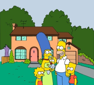 "This undated frame from the Fox series ""The Simpsons"" shows the popular cartoon family posing in front of their home. (AP Photo/Fox Broacasting Co.)"