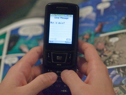 A text message is sent on a mobile phone. (THE CANADIAN PRESS/Ryan Remiorz)