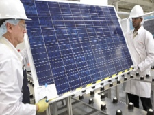 A solar panel is seen in this image from promotional video by Canadian Solar Solutions.