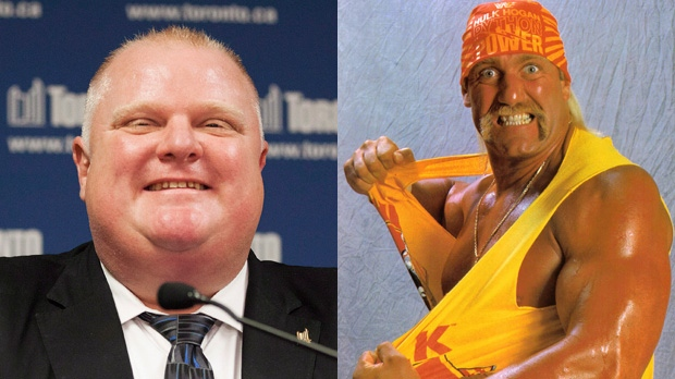 Toronto Mayor Rob Ford (left) says he will arm wrestle World Wrestling Federation legend Hulk Hogan (right) at Toronto's fan expo.