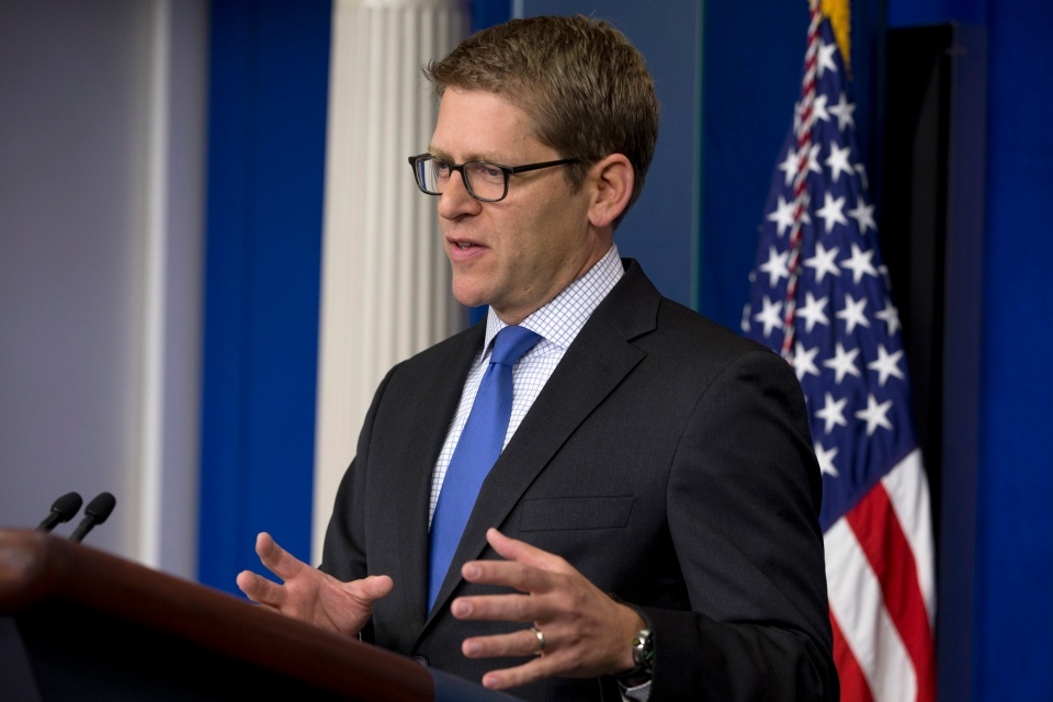 White House press secretary Jay Carney answers questions about Syria and chemical weapons during his daily news briefing at the White House in Washington, Tuesday, Aug. 27, 2013.  (AP /Jacquelyn Martin)