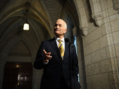 New Democratic Party leader Jack Layton speaks to reporters following a caucus meeting on Parliament Hill in Ottawa on Thursday, June 2, 2011. (THE CANADIAN PRESS/Sean Kilpatrick)