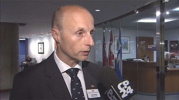 TTC CEO Andy Byford is pictured speaking at city hall on Monday September 23, 2013.