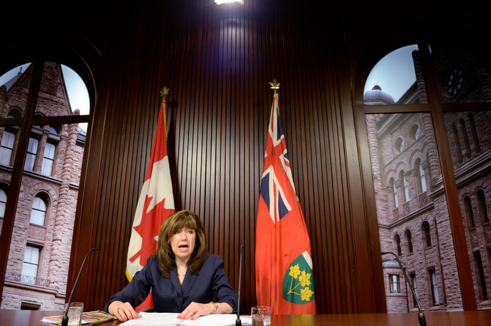 Ontario Auditor General Bonnie Lysyk talks about her report on the costs of cancelling the Oakville gas plant project at the legislature at Queen's Park in Toronto on Tuesday, Oct. 8, 2013. (Frank Gunn / THE CANADIAN PRESS)