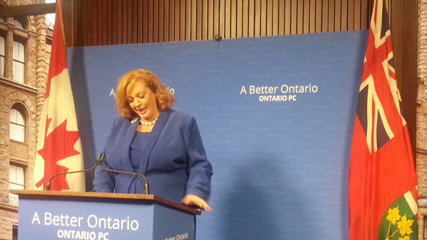 PC Energy Critic and MPP Lisa MacLeod reacts to an Auditor General report at Queen's Park on Oct. 8, 2013. The report revealed the cost of the Liberal decision to cancel the construction of a power plant in Oakville back in 2010. (Sandie Benitah/CP24)