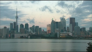 Toronto's skyline is pictured at sunrise Tuesday, Oct. 15, 2013.