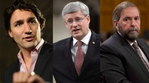 Liberal Leader Justin Trudeau, Conservative Leader Stephen Harper and NDP Leader Thomas Mulcair appear in this composite image. (The Canadian Press/Sean Kilpatrick)