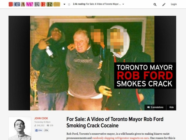 """From the document:  """"On Thursday May 16th, 2013 at approximately 8:30PM, an internet article was published on a web site called """"Gawker.com"""". The author of this article was John COOK. The article was titled """"For Sale; A Video of Toronto Mayor Rob FORD Smoking Crack Cocaine"""". The article displayed a photograph of FORD with Anthony SMITH (Homicide 14/2013 victim), Mohammed KHATTAK (Surviving shooting victim Homicide 14/2013) and Monir KASIM."""""""