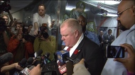 Rob Ford addresses reporters outside his office on October 31, 2013.
