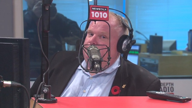 Mayor Rob Ford speaks on his radio show on Newstalk 1010 Sunday October 3, 2013.