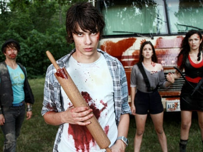 """Tim Doiron, left to right, Devon Bostick, Martha McIsaac, April Mullen, are shown in this handout photo from the film """"Dead Before Dawn"""". The hefty cost and steep learning curve of making a movie in 3D isn't stopping low-budget Canadian filmmakers April Mullen and Tim Doiron from diving into the technology. (THE CANADIAN PRESS/HO)"""