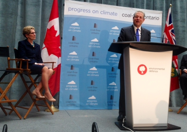 Former U.S. vice president Al Gore speaks after Premier Kathleen Wynne's announcement that Ontario will move to ban coal as a power source. (Cristina Tenaglia/CP24)