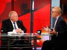 Toronto Mayor Rob Ford, left, and CP24's Stephen LeDrew during an interview at CP24 on Friday, July 22, 2011. (CP24/Darren Goldstein)