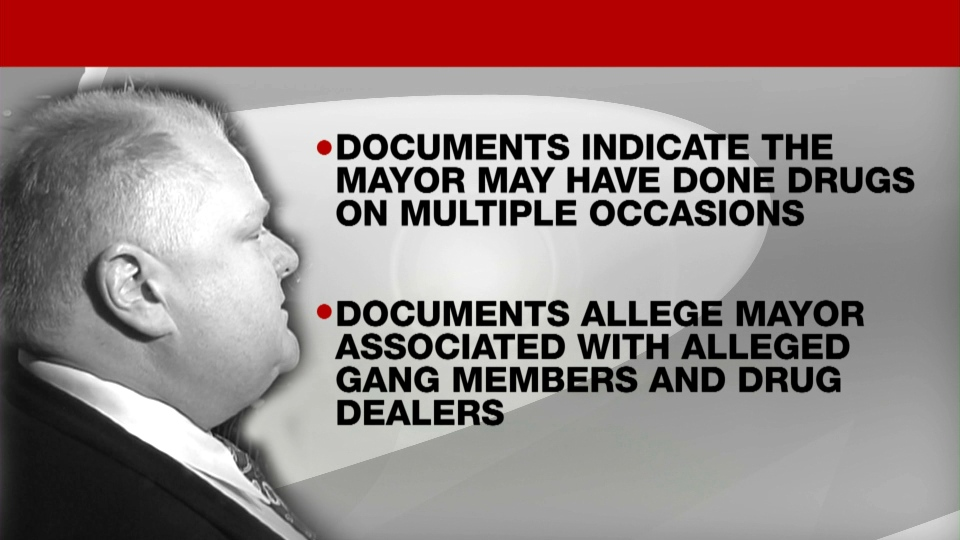 Some of the new allegations leveled against Toronto Mayor Rob Ford in the latest release of information from a police ITO are detailed in this image.