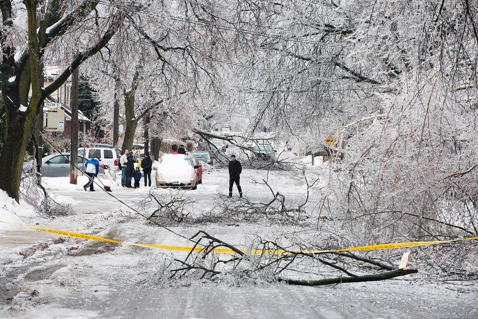 Pedestrians navigate a closed off Soudan Avenue in Toronto after an ice storm caused havoc knocking down trees and power lines in much of the city on Sunday, Dec. 22, 2013. (Aaron Vincent Elkaim / The Canadian Press)