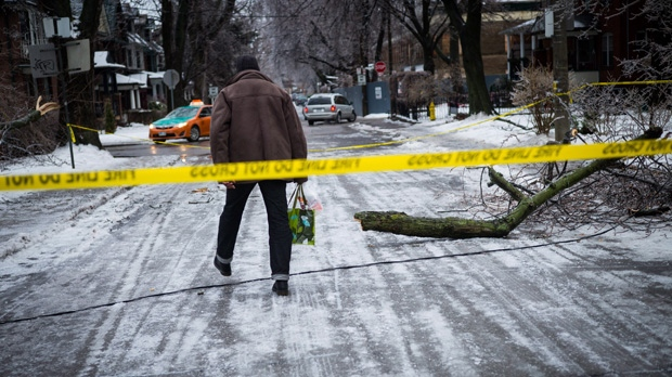 A man steps over downed power lines near Dufferin Grove Park in Toronto on Sunday, Dec. 22, 2013 following ice storm. THE CANADIAN PRESS/Ian Willms