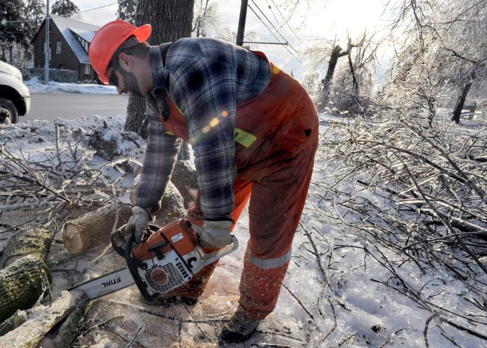 Peel Region employee Dwayne Berrigan cuts limbs from iced trees in Brampton on Monday, Dec. 23, 2013. (The Canadian Press/J.P. Moczulski)