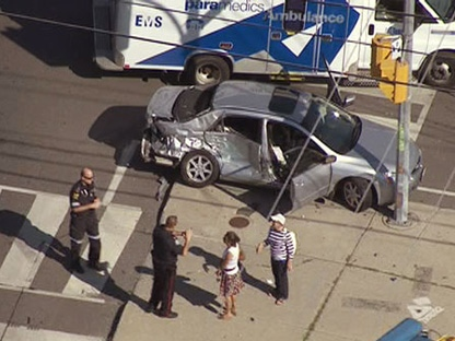 The scene of a serious collision between a transport truck and a car at Leslie Street and Steeles Avenue in Toronto on Friday, Aug. 12, 2011.