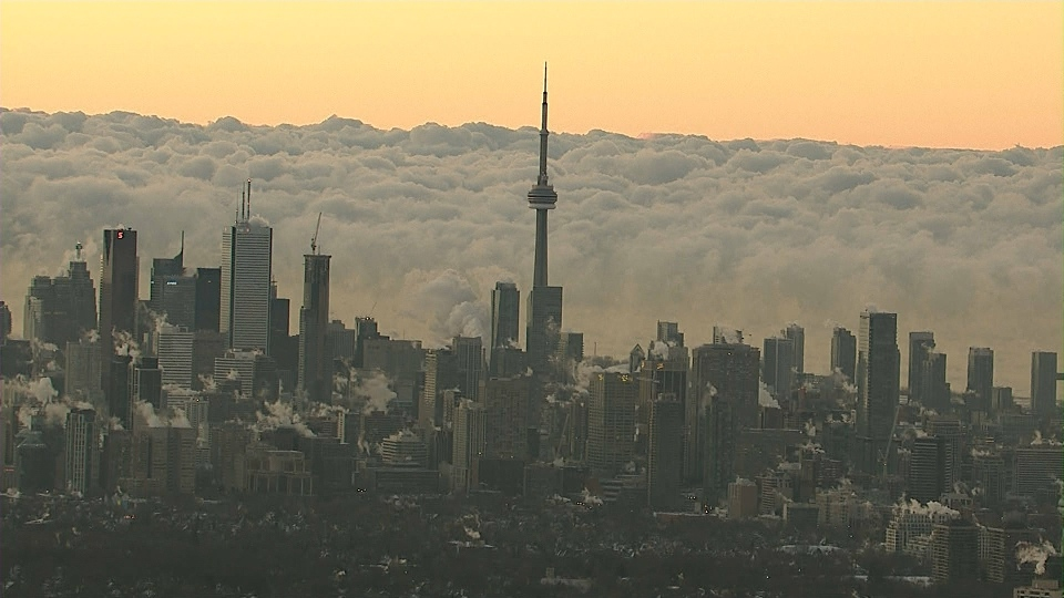 This image from Chopper 24 shows Toronto on a frigid day Friday, Jan. 3, 2013.