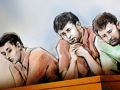Jake Workman (left), Justin Spring (centre) and Matthew Spring appear in a Barrie courtroom on Monday, Aug. 15, 2011. (CTV)