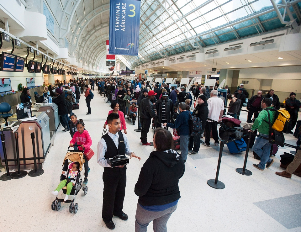 Passengers line up at Pearson International Airport on Tuesday, Jan. 7, 2014. (The Canadian Press/Aaron Vincent Elkaim)