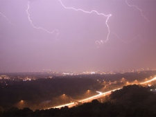 A lightning storm is seen from the northbound lanes of the Don Valley Parkway on August 24, 2011. (Andrew Ogilvie/MyBreakingNews)