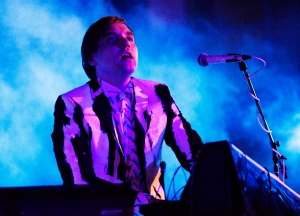 "William Butler, a member of Arcade Fire, billed as the band ""The Reflektors,"" plays Thursday, Oct. 24, 2013 at the Little Haiti Cultural Center in Miami. (AP Photo/Eric Kayne)"