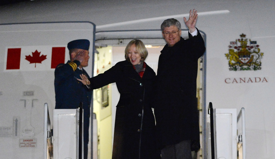 Prime Minister Stephen Harper and wife Laureen depart Ottawa for Israel on Saturday, January 18, 2014. On his inaugural trip Harper will be visiting Israel, West Bank, and Jordan. THE CANADIAN PRESS/Sean Kilpatrick