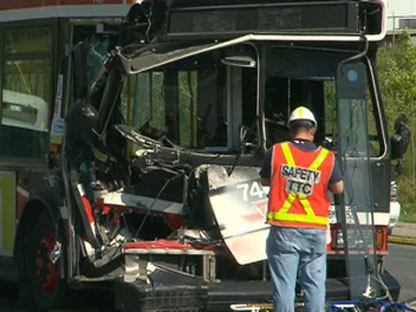 A 43-year-old woman was killed when a TTC bus and a flatbed truck collided on Lawrence Avenue East, near Don Mills Road, on Tuesday, Aug. 30, 2011.