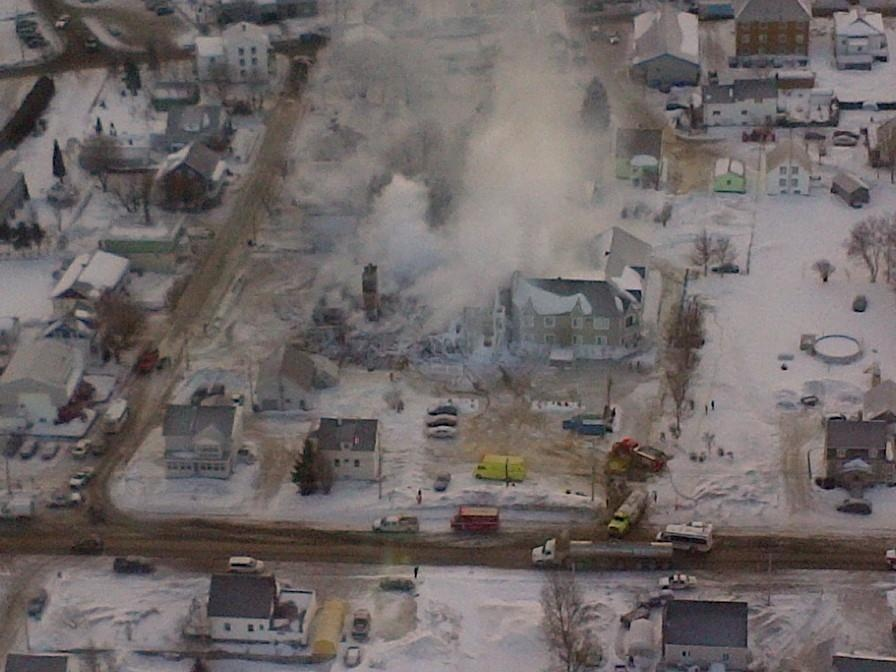 This aerial photo provided by police shows the rubble of a seniors residence in L'Isle-Verte, Que., after a fire Thursday, Jan. 23, 2014. (Facebook)