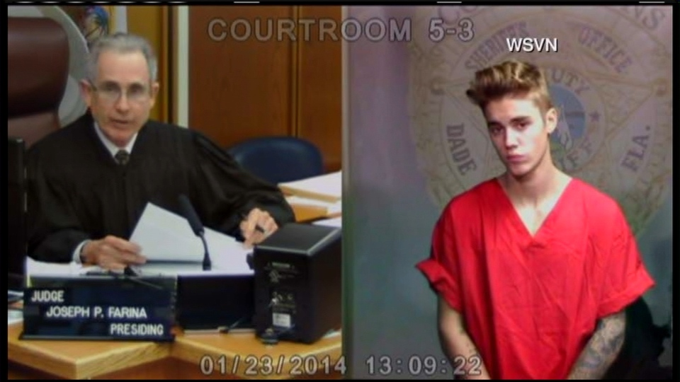 In this screen grab from video, Justin Bieber appears via video link fora bond hearing in Miami Beach, Fla., on Thursday, Jan. 23, 2014.