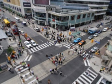 "Toronto's first experimental ""pedestrian scramble"" intersection was unveiled at Yonge and Dundas streets Thursday, Aug. 28, 2008. (THE CANADIAN PRESS/Patrick Dell)"