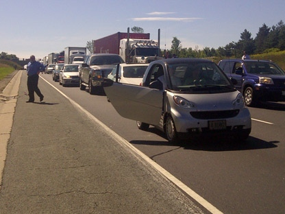 Traffic is backed up for several kilometres on Highway 400, near 11th Line, after a motorcycle crash Friday, Sept. 9, 2011. (CP24/Lindsey Deluce)
