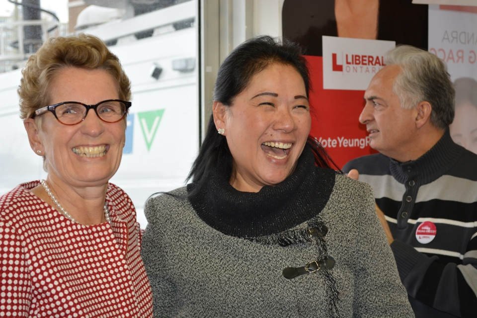 Premier Kathleen Wynne campaigns with Liberal candidate Sandra Yeung Racco in Thornhill Monday, January 20, 2014. (Joshua Freeman/CP24)