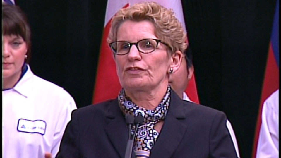 Ontario Premier Kathleen Wynne speaks at an event in Cambridge, Ont., on Friday, Feb. 14, 2014.
