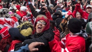 Hockey fans celebrate in Toronto's Maple Leaf Square after the final buzzer as Canada beat Sweden 3-0 to win the gold medal in the men's Olympic Hockey Final on Feb. 23, 2014. (The Canadian Press/Chris Young)