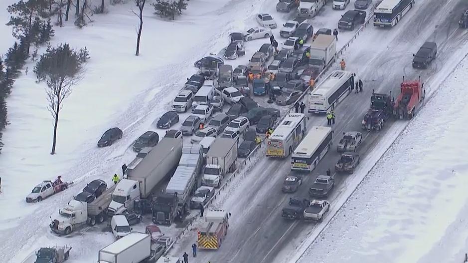 Snow Car Pile Up Crash