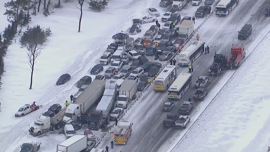 Nearly 100 vehicles were involved in a pileup in Highway 400's southbound lanes during a snow squall south of Barrie on Thursday, Feb. 27, 2014.