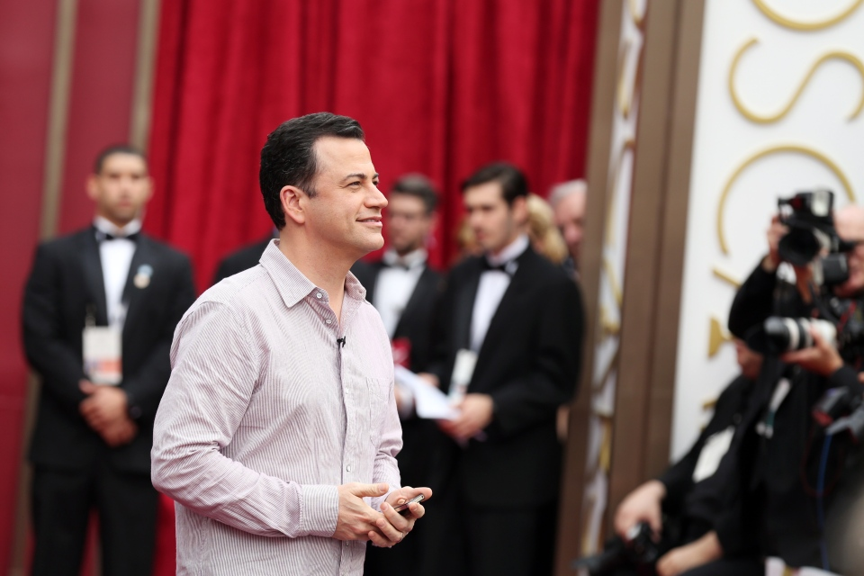 Jimmy Kimmel arrives at the Oscars on Sunday, March 2, 2014, at the Dolby Theatre in Los Angeles. (Matt Sayles/Invision/AP)
