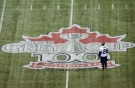 Toronto Argonauts safety Jordan Younger looks over the game logo as he takes part in the teams practice ahead of the 100th Grey Cup championship game in Toronto on Thursday, Nov. 22, 2012. (The Canadian Press/Nathan Denette)
